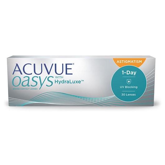 Lentes de contato Acuvue Oasys 1-Day com Hydraluxe para astigmatismo